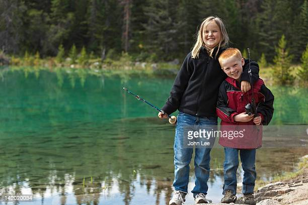 Brother and sister fishing in the Valley of the Five Lakes