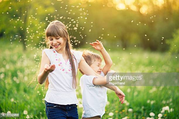 Brother and sister having fun in dandelion field.