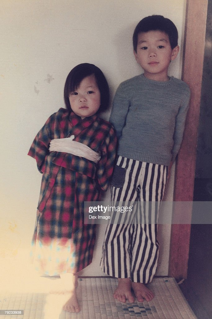 Brother and sister in pajamas : Stock Photo