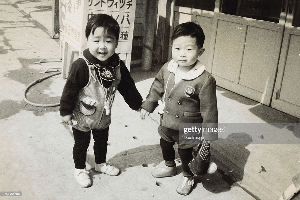 Brother and sister in school uniform : Stock Photo