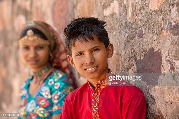 brother and sister in traditional clothing, Rajasthan, India