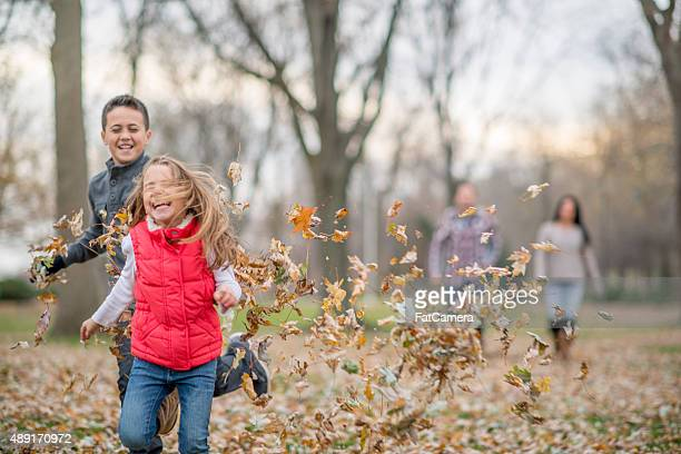 Brother and Sister Playing in Leaves
