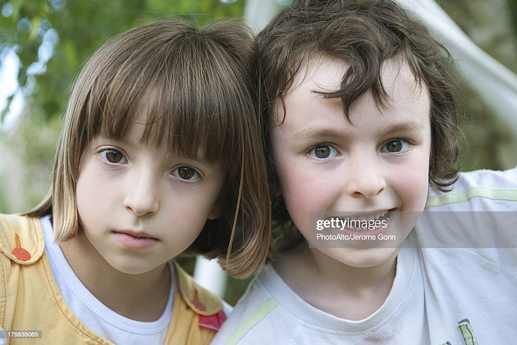 Brother and sister, portrait : Stock Photo