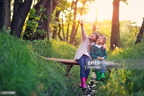 Frère et Soeur assis sur le pont dans la forêt