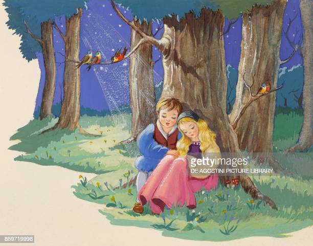 Brother and Sister spend the night in the woods illustration for Brother and Sister fairy tale by the Grimm brothers Jacob and Wilhelm drawing