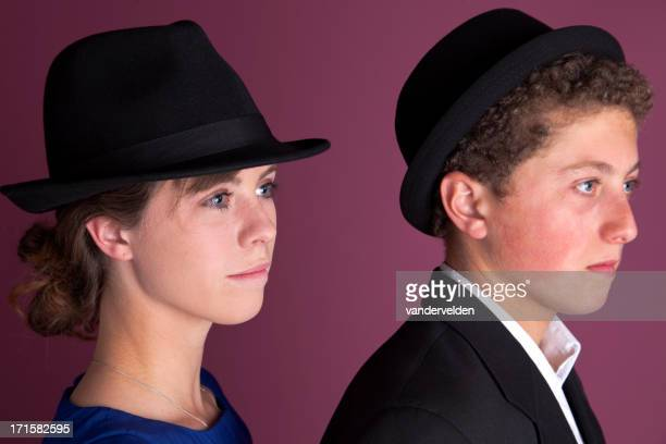 Brother And Sister Wearing Hats