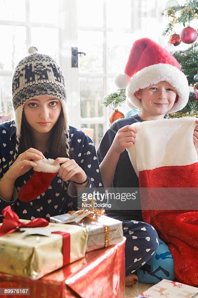 Brother and sister with stockings