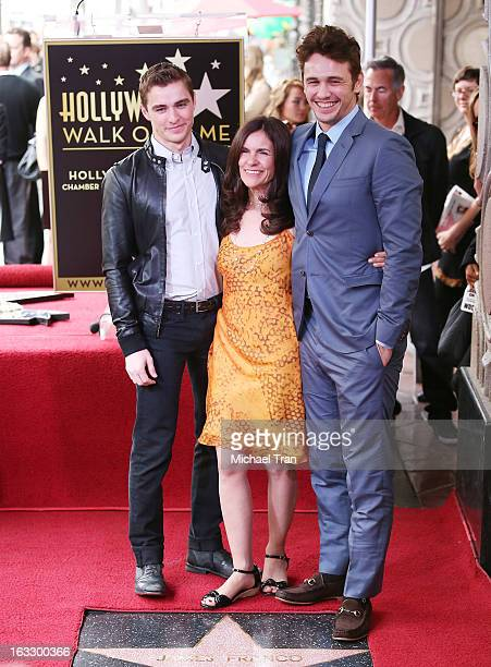 Brother Dave Franco and mother Betsy Franco join James Franco as they attend the ceremony honoring James Franco with a Star on The Hollywood Walk of...