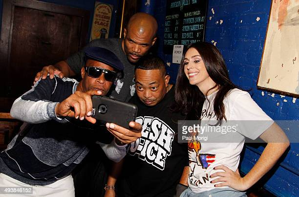 Brother Marquis of 2 Live Crew Darryl 'DMC' McDaniels of Run DMC Fresh Kid Ice of 2 Live Crew and Ashley Spillane President Rock the Vote take a...