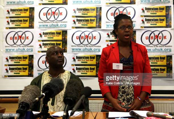 Brother Omowale from the Reparations Now campaign and Judith Craig a spokesperson for United Haitians in the UK speak at a press conference to appeal...