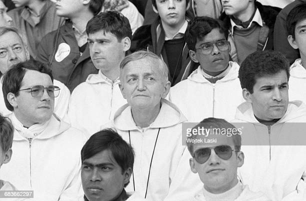 Brother Roger Schutz founder of the ecumenical Christian Taize Community during a vigil with the youth at the Parc des Princes stadium in Paris...