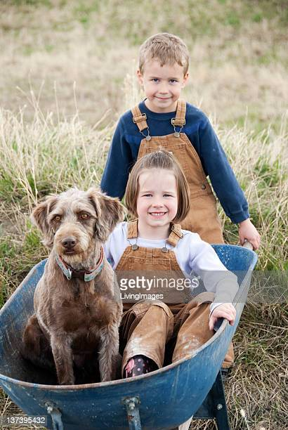 Brother & Sister with their Pet