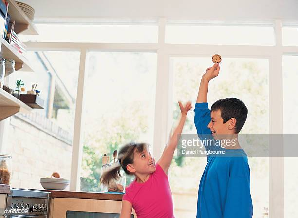 Brother Teasing his Sister with a Biscuit