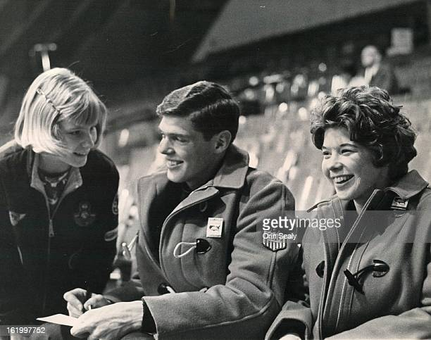 MAR 4 1965 Brotherand Sister Team Makes a Hit Pair skaters Ron and Cindy Kauffman of Seattle Wash on the United States team give an autograph to...
