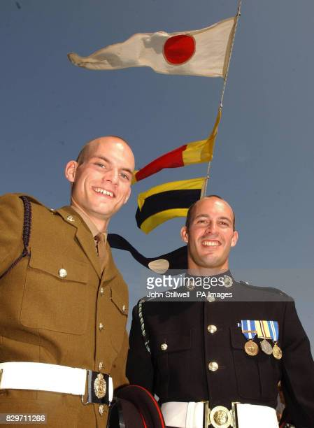 Brothers and 6th generation descendants of Lord Nelson Lance Corporal Brett Nelson of the Royal Engineers and Marine Commando Craig Nelson on board...