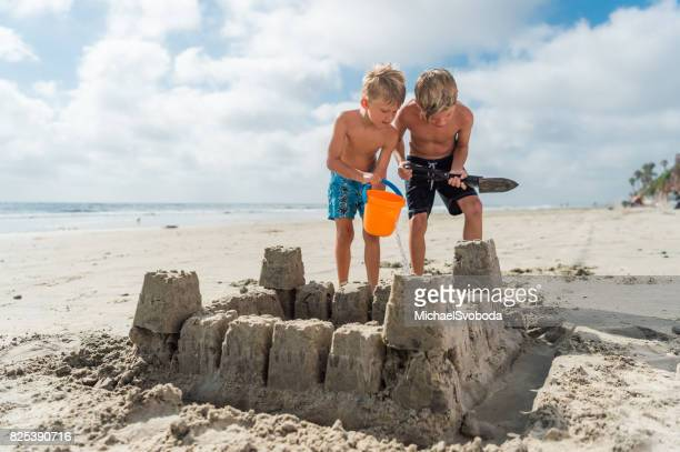 Brothers At The Beach Building A Sand Castle