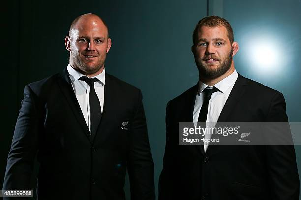 Brothers Ben Franks and Owen Franks of the All Blacks pose during the New Zealand All Blacks Rugby World Cup team announcement at Parliament House on...