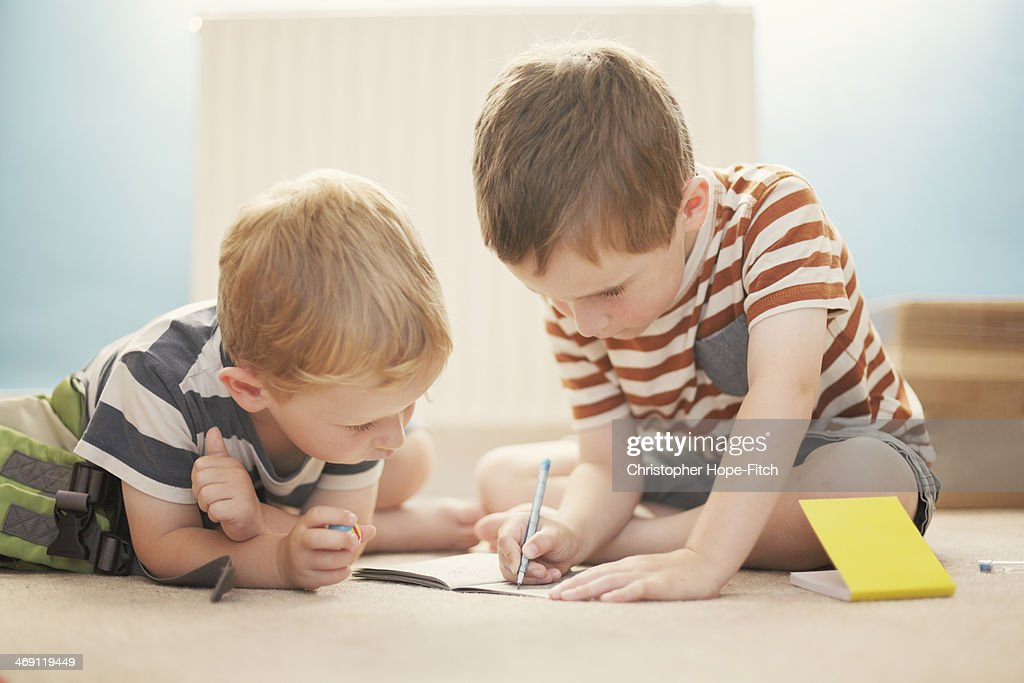 Brothers concentrating : Stock Photo