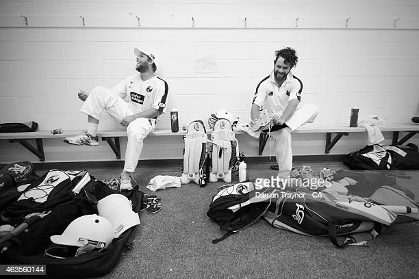 Brothers Dane and Liam Ugle laugh in the change rooms before an Imparja Cup match on February 10 2015 in Alice Springs Australia
