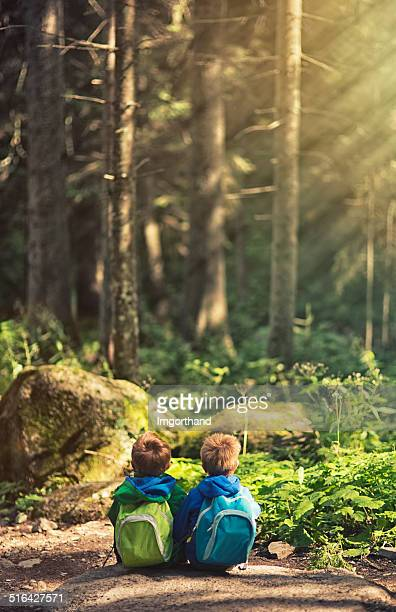 Brothers hiking and resting in a forest.
