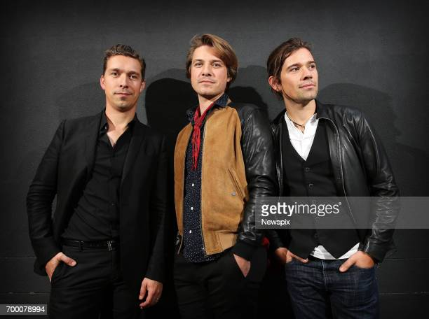 SYDNEY NSW Brothers Isaac Hanson Taylor Hanson and Zac Hanson of Hanson pose during a photo shoot in Sydney New South Wales