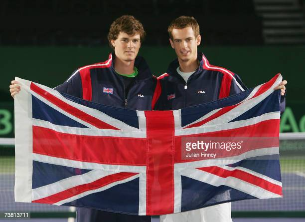 Brothers Jamie Murray and Andy Murray pose for a photo during the previews to the Davis Cup Europe/Africa Zone Group One tie between Great Britain...