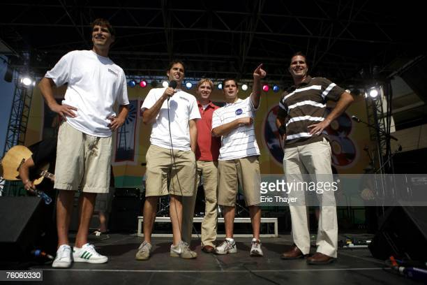 Brothers Josh Craig Ben Matt and Tagg Romney sons of Republican presidential candidate former Massachusetts Governor Mitt Romney at the Iowa Straw...