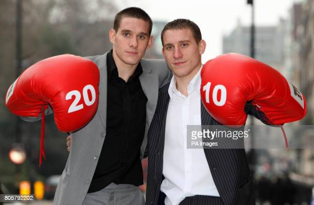 Brothers Liam and Ryan Walsh poses for photographs after the press conference at The Landmark Hotel London