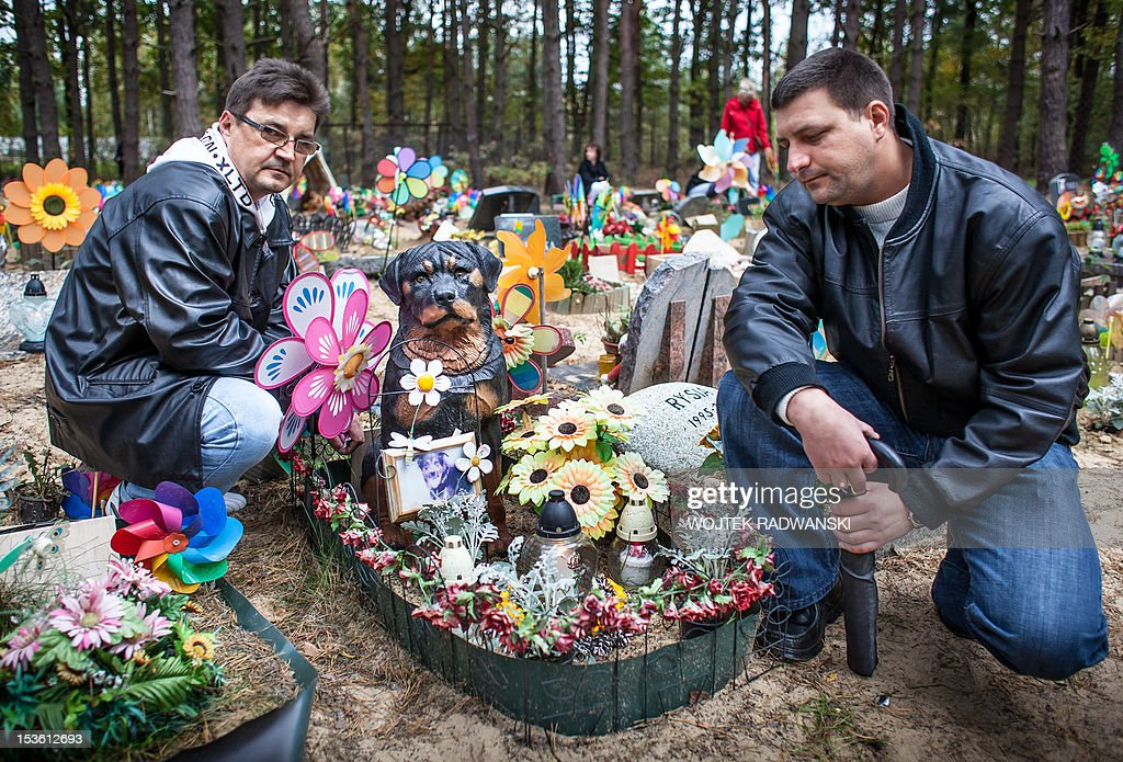 Brothers Marek (L) and Mirek (R) visit the grave of Marek's rottweiler Maks at the pet cemetary in Nowy Konik, near Warsaw, on October 7, 2012 on the annual meeting for owners of late pets. The holiday is organized every year on first sunday in October on the model of very popular in Poland All Saints day (November 1) and gather hundreds of people wishing to light a candle for their pets.
