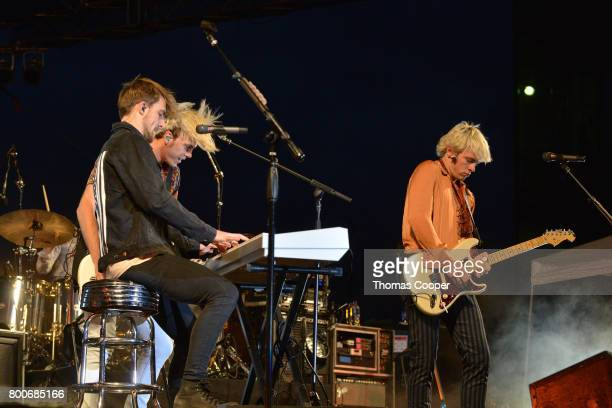 Brothers Rocky Riker and Ross Lynch of the Pop Band R5 jamm out at Elitch Gardens on June 24 2017 in Denver Colorado