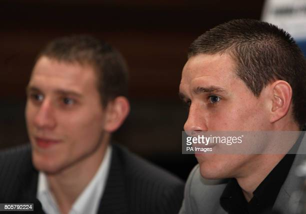Brothers Ryan and Liam Walsh during the press conference at The Landmark Hotel London