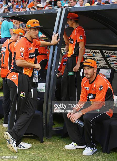 Brothers Sean Marsh and Mitch Marsh of the Scorchers look dejected after defeat during the Big Bash League match between the Perth Scorchers and the...