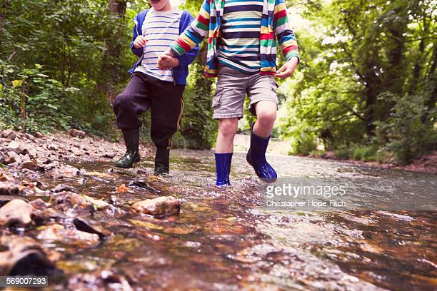 Brothers splashing out of a river
