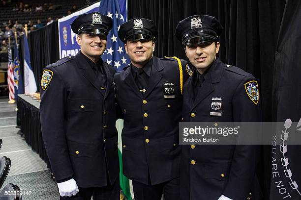 Brothers Stephen Favale John Favale and Alec Favale attend their New York Police Department graduation ceremony on December 29 2015 at Madison Square...