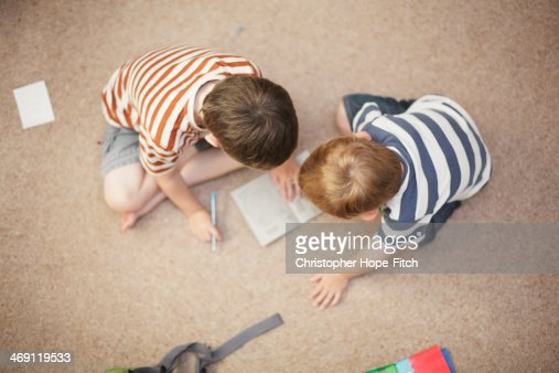Brothers working together : Stock Photo