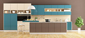 Brown and blue modern Kitchen with island and stools 3d rendering