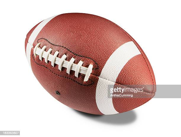 Brown and white American football on white background