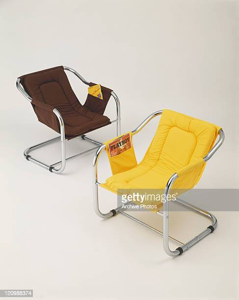 Brown and yellow chairs on white background