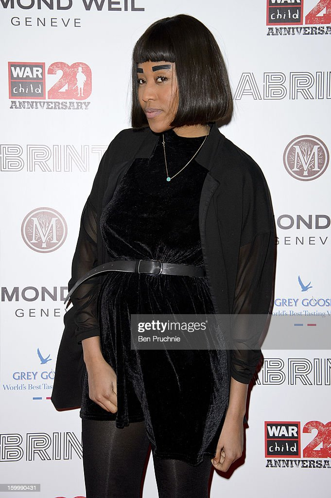 VV Brown attends the Raymond Weil pre-Brit Awards dinner and 20th anniversary celebration of War Child at The Mosaica on January 24, 2013 in London, England.