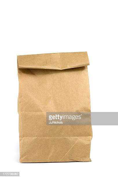 Brown Bag Lunch Isolated On White