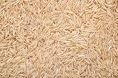 Closeup of a lot of brown basmati rice