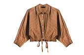 Brown striped blouse with buttons and laces isolated over white