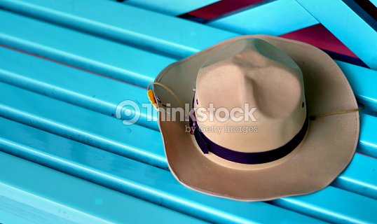 774d3167fb7d47 brown boy scout hat on blue bench, male peak hat cowboy style : Stock Photo
