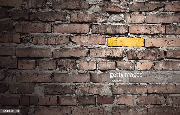 Brown brick wall with one gold brick