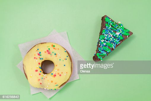 Brown brownie cake in the shape of a triangle : Stock Photo