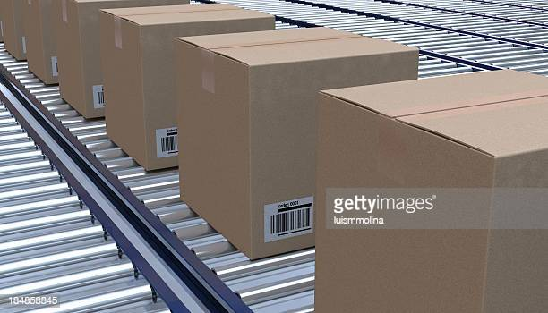 Brown cardboard boxes lined up on a conveyor belt
