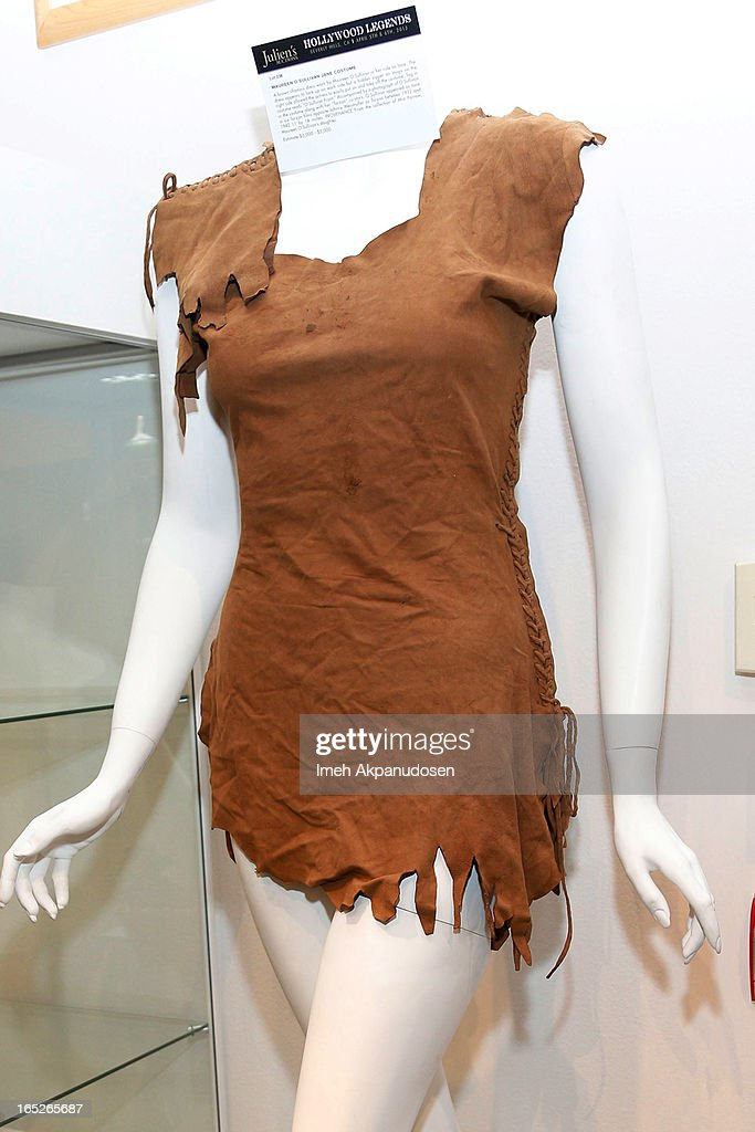 A brown chamois dress worn by Maureen O'Sullivan in her role as Jane in 'Tarzan' on display during the 'Hollywood Legends' auction preview at Julien's Auctions Gallery on April 1, 2013 in Beverly Hills, California.