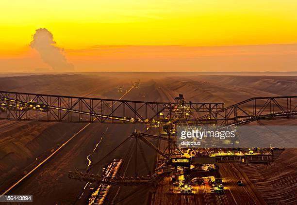 Brown coal opencast mining at dusk