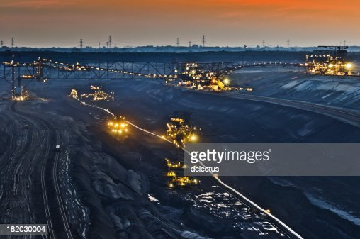 Brown coal opencast mining at night