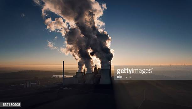 Brown coal power station at dusk - aerial view